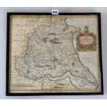 """Old map 'The East Riding of Yorkshire' by Robert Morden. Image 16.5"""" x 14.5"""", frame 17.5"""" x 15.5"""""""