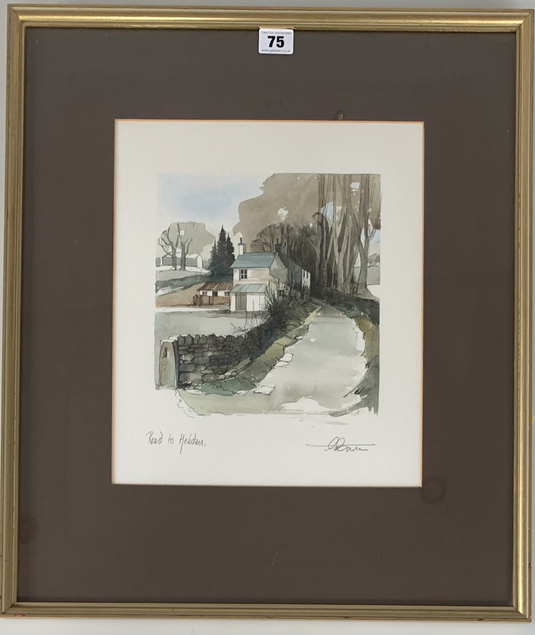 """Drawing/watercolour """"Road to Hebden"""", signed. Image 11"""" x 13"""", frame 18.5"""" x 22"""". Chantry House"""