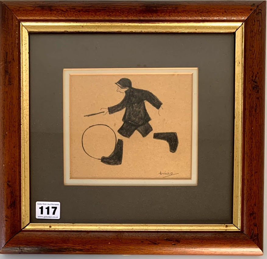 """Brian Shields (Braaq) pencil drawing of boy with hoop, signed 'braaq'. Image 6.25"""" x 5.25"""", frame"""