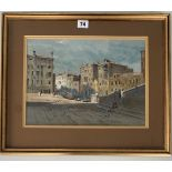 """Watercolour of Venice by J. Barrie Haste. Image 13.5"""" x 10"""", frame 19"""" x 16"""". Headrow Gallery,"""