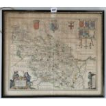 """Old map 'The West Riding of Yorkshire' by Jan Jannsen 1646, image 21.5"""" x 18"""", frame 23"""" x 19.5"""""""