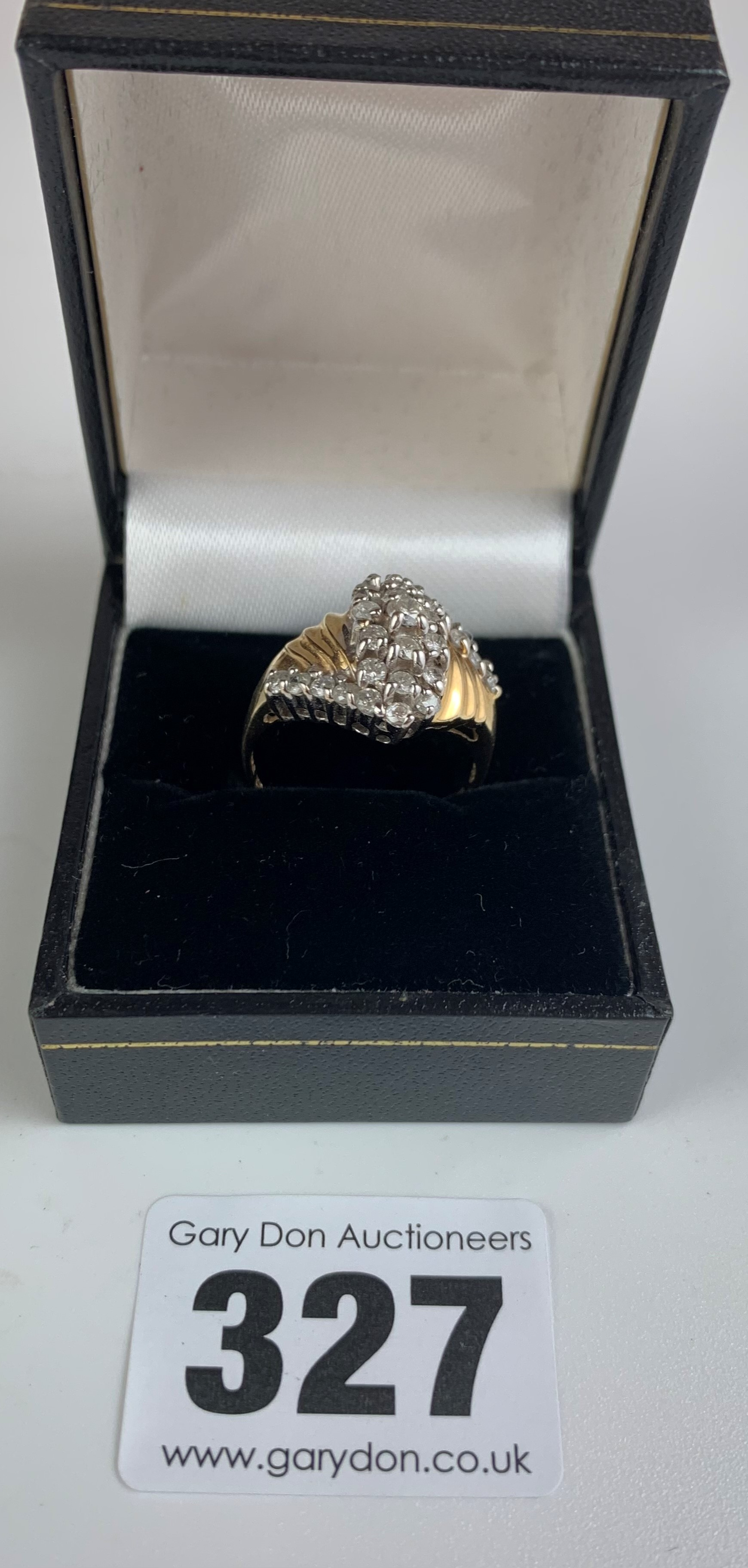 14k gold and white stone dress ring, size P/Q, w: 4.3 gms - Image 2 of 6