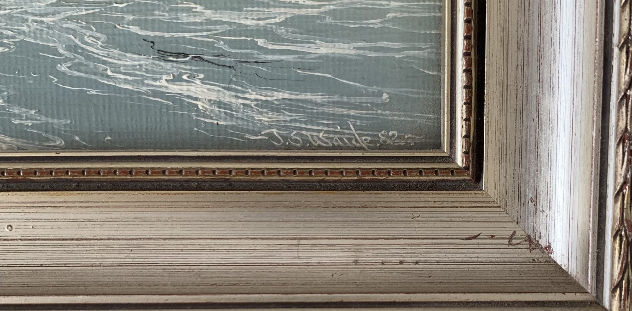 """Pair of oils of seascapes by J.S. Waide, images 9.5"""" x 7.5"""", frames 12"""" x 10"""" - Image 3 of 4"""