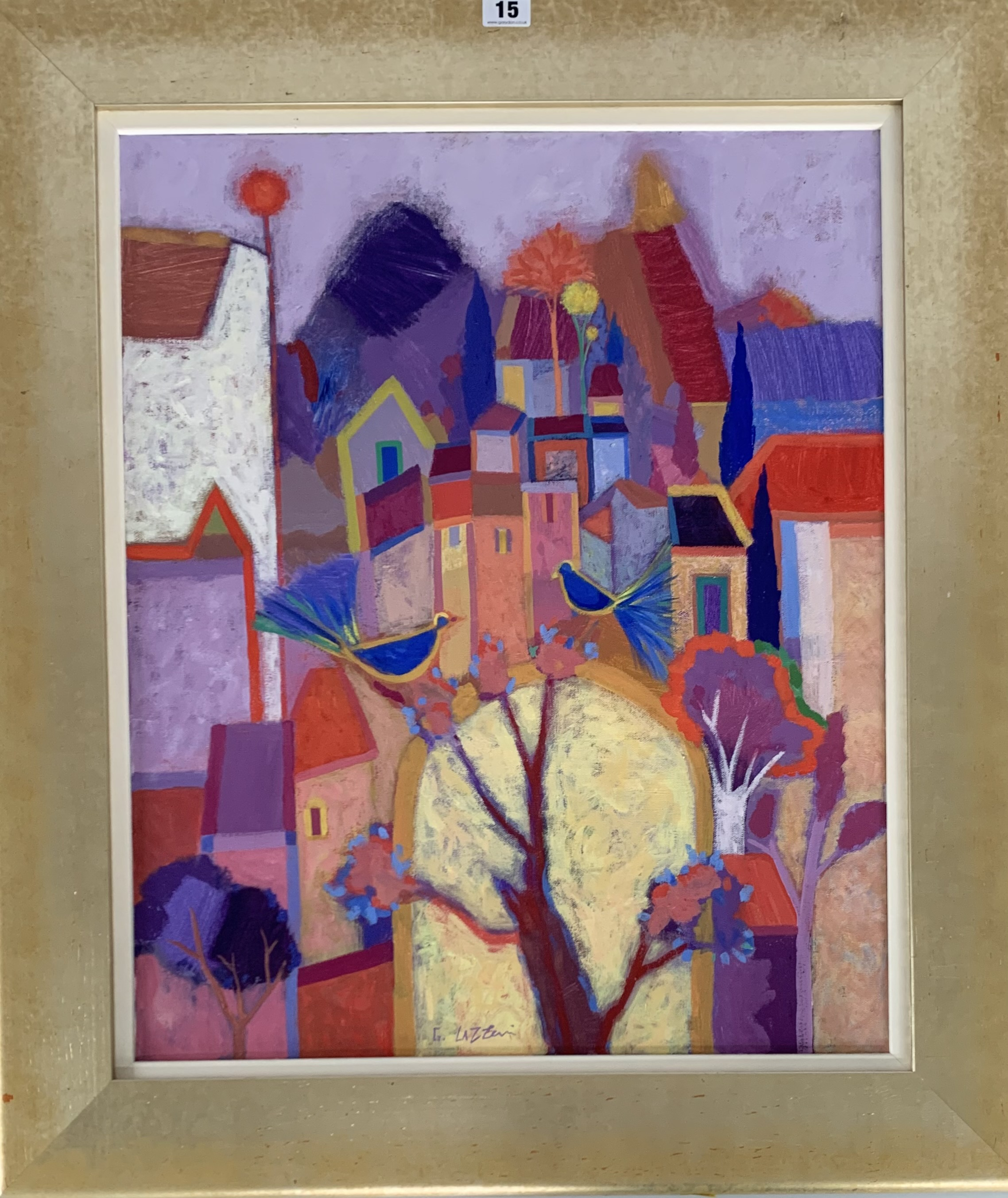 "Acrylic on canvas ""Summer Song"" by Giuliana Lazzarini 2001. Image 20"" x 24"", frame 27"" x 31"""