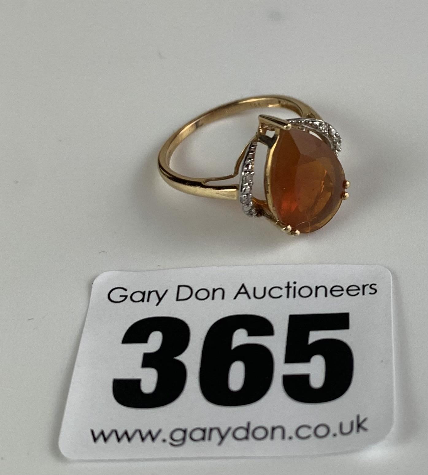 10k gold ring with heart shaped orange stone, size J/K, w: 2.1 gms - Image 3 of 6