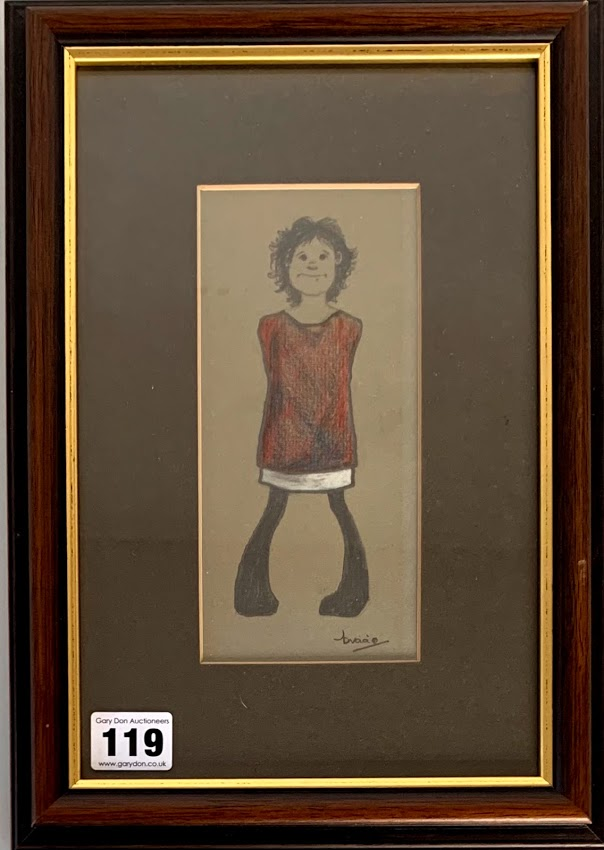 Brian Shields (Braaq) pencil and pastel drawing of young girl in red dress, (possibly his sister