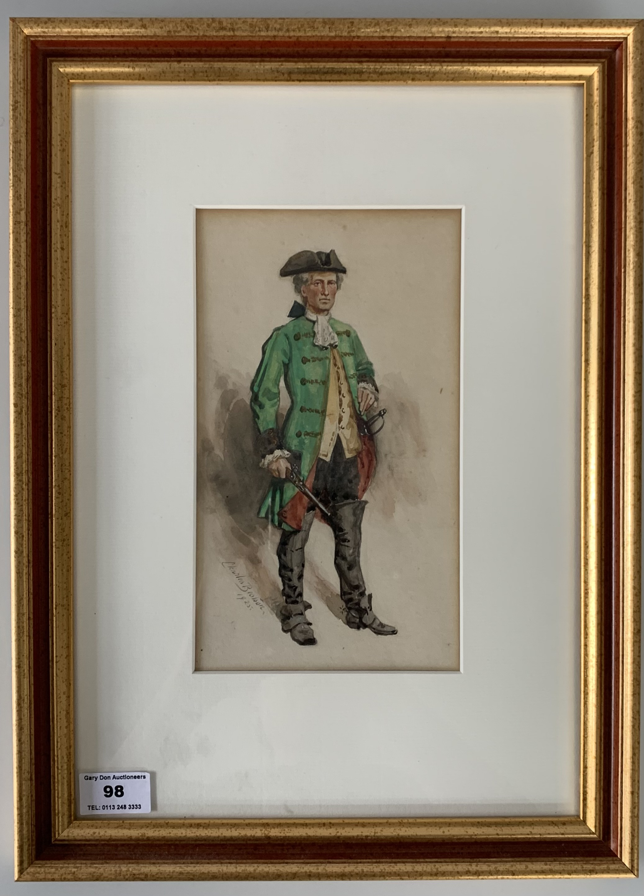 """Watercolour of officer by Charles Bealson 1925, image 5"""" x 9"""", frame 12"""" x 16"""""""