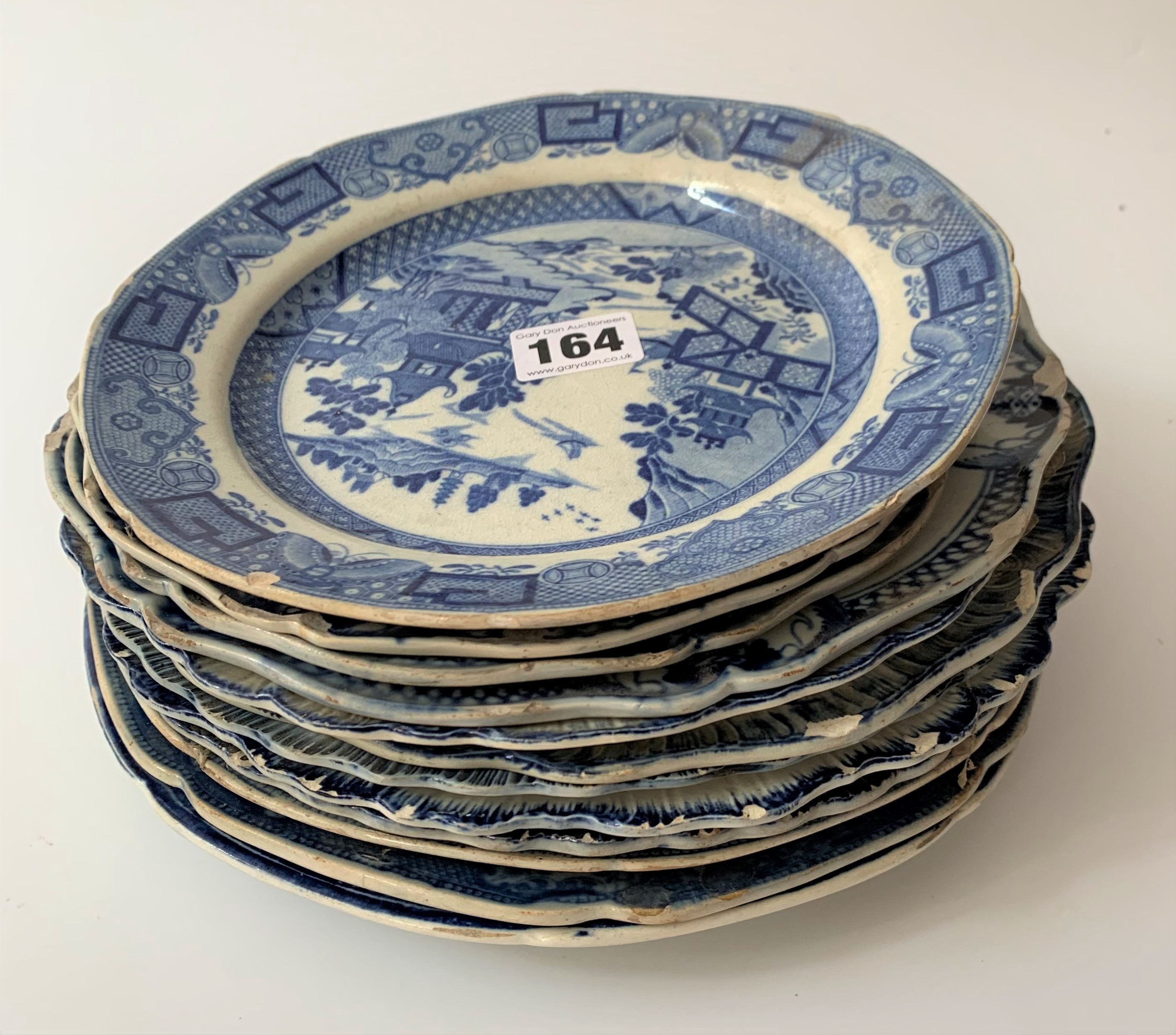 """12 assorted blue/white plates (chipped) 8"""" – 10"""""""