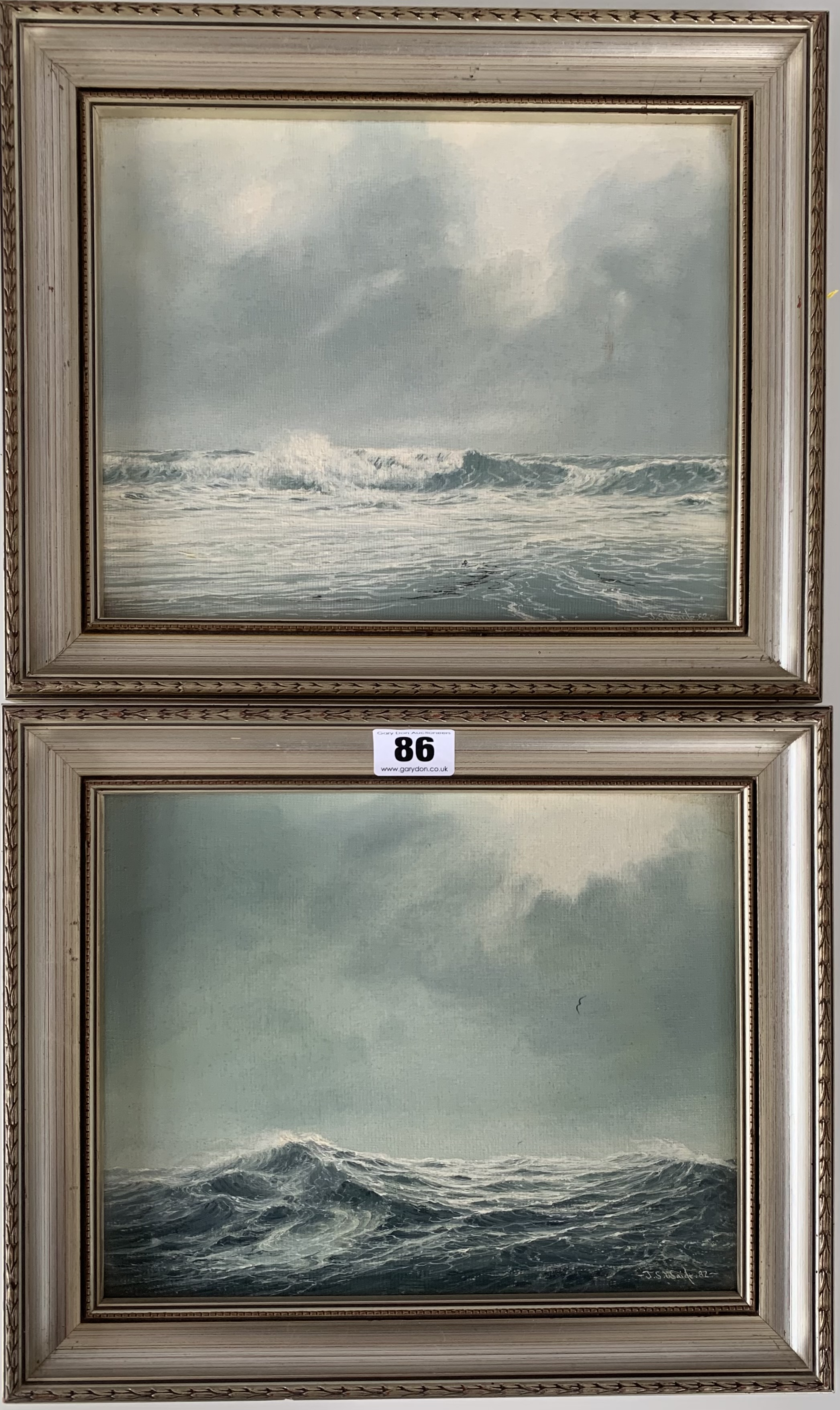 """Pair of oils of seascapes by J.S. Waide, images 9.5"""" x 7.5"""", frames 12"""" x 10"""""""