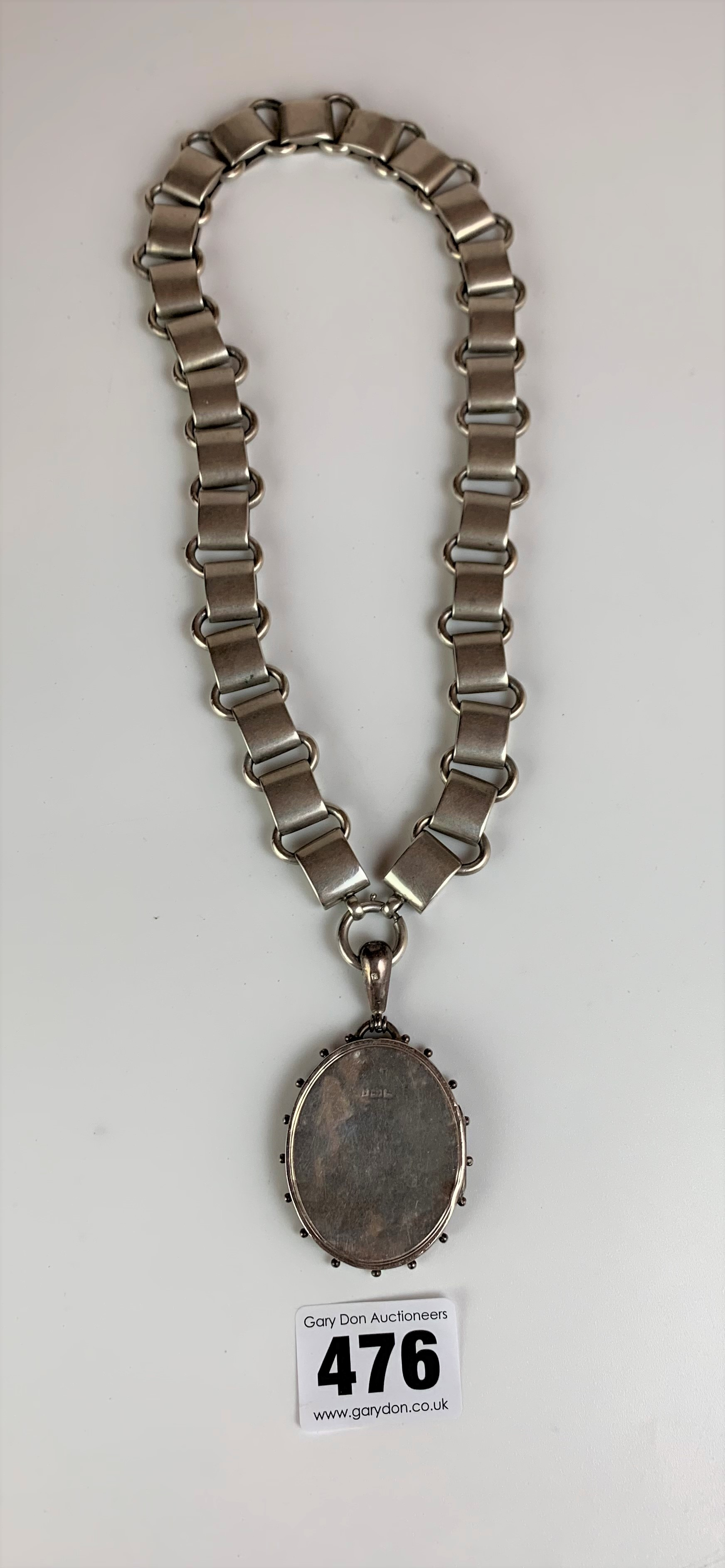 """Silver chain with silver locket, chain 18"""", locket 2"""". Total w: 2.3 ozt - Image 3 of 5"""