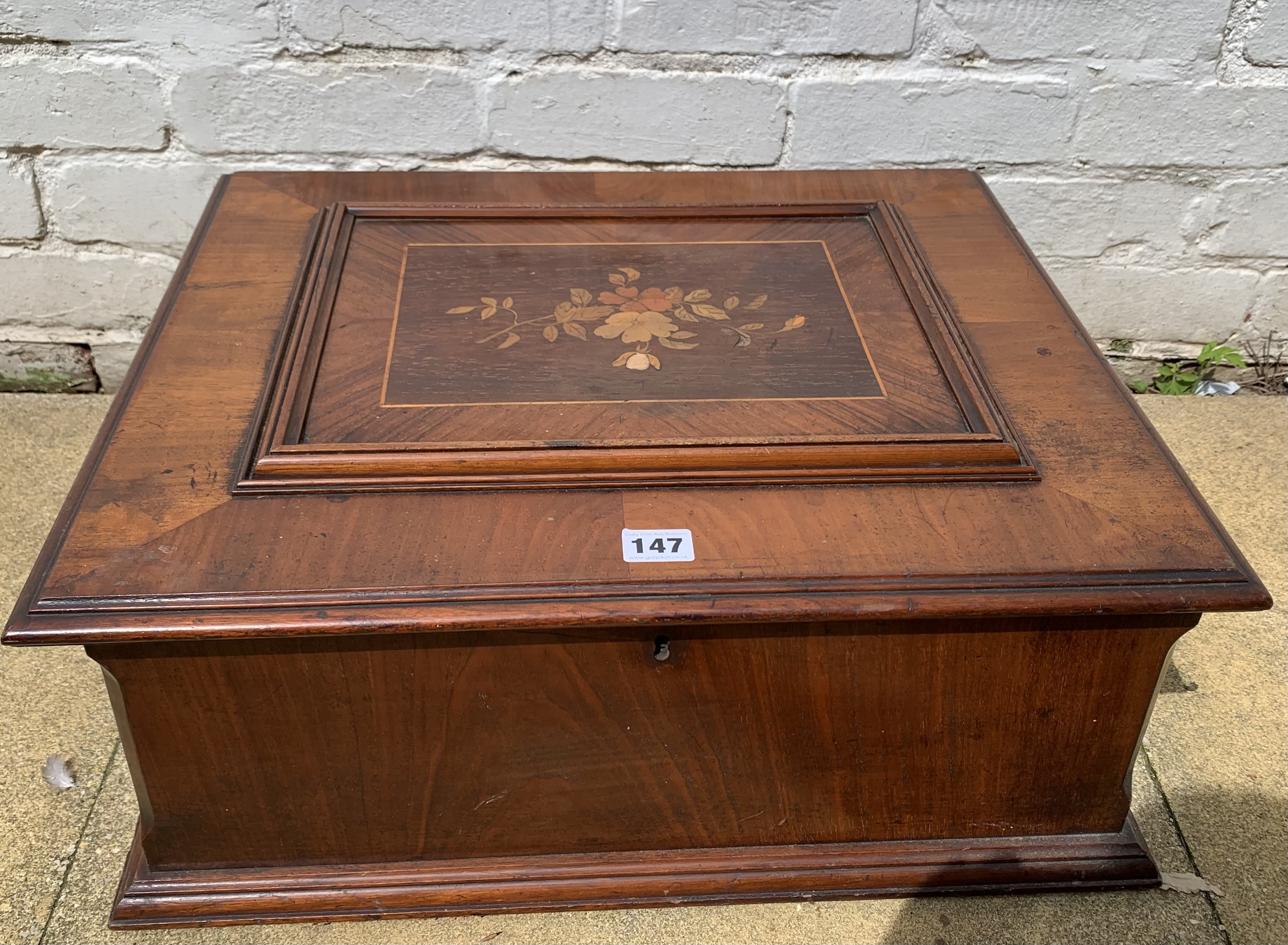 """Antique Polyphon music box in inlaid box, 21"""" long x 18"""" wide with 8 discs. Working"""