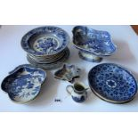 Assorted blue/white plates, dishes, jug and taza