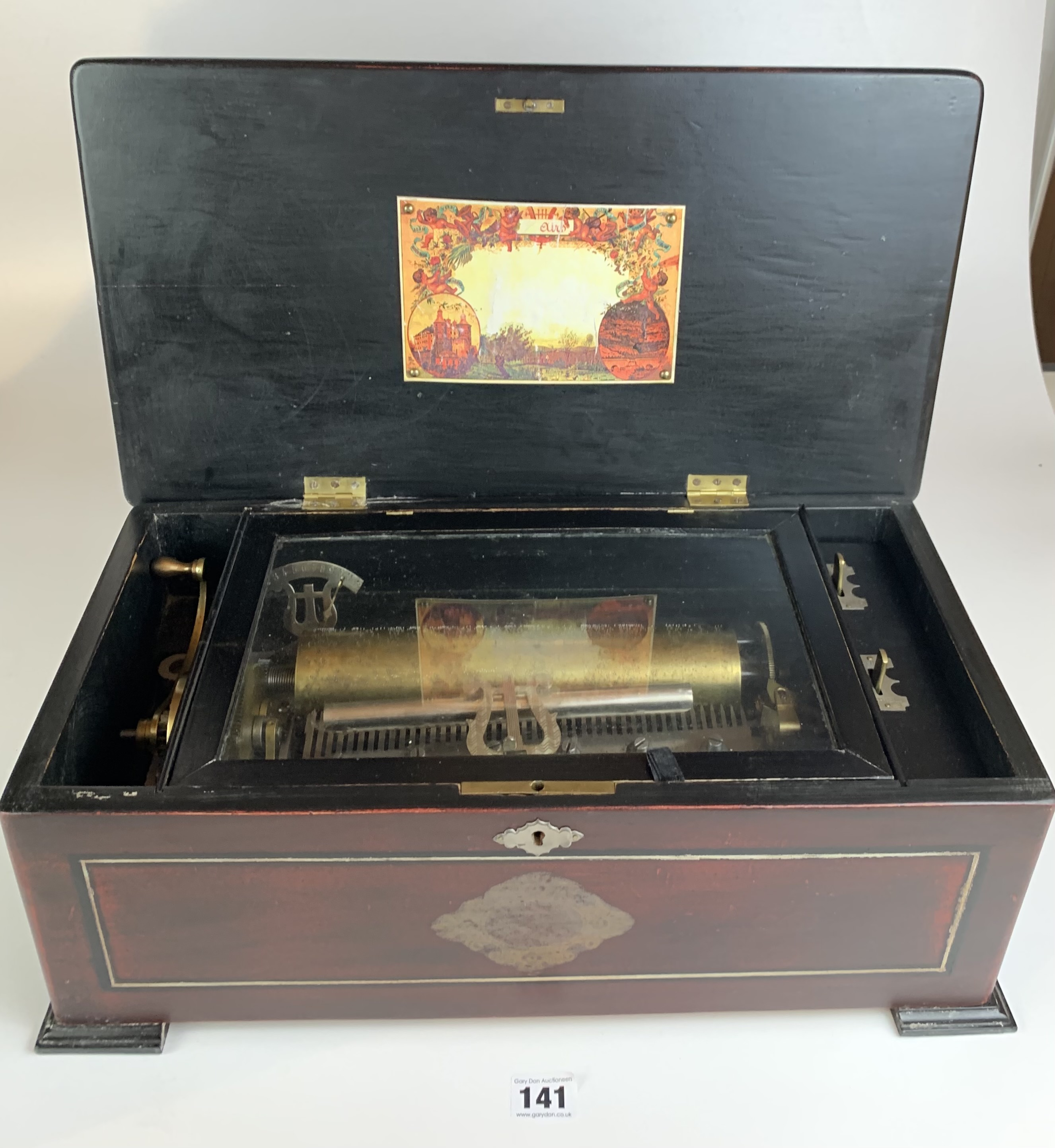"""Antique Victorian wind up cylinder music box, 18"""" long x 10"""" wide x 7"""" high. Crack in lid. - Image 3 of 5"""