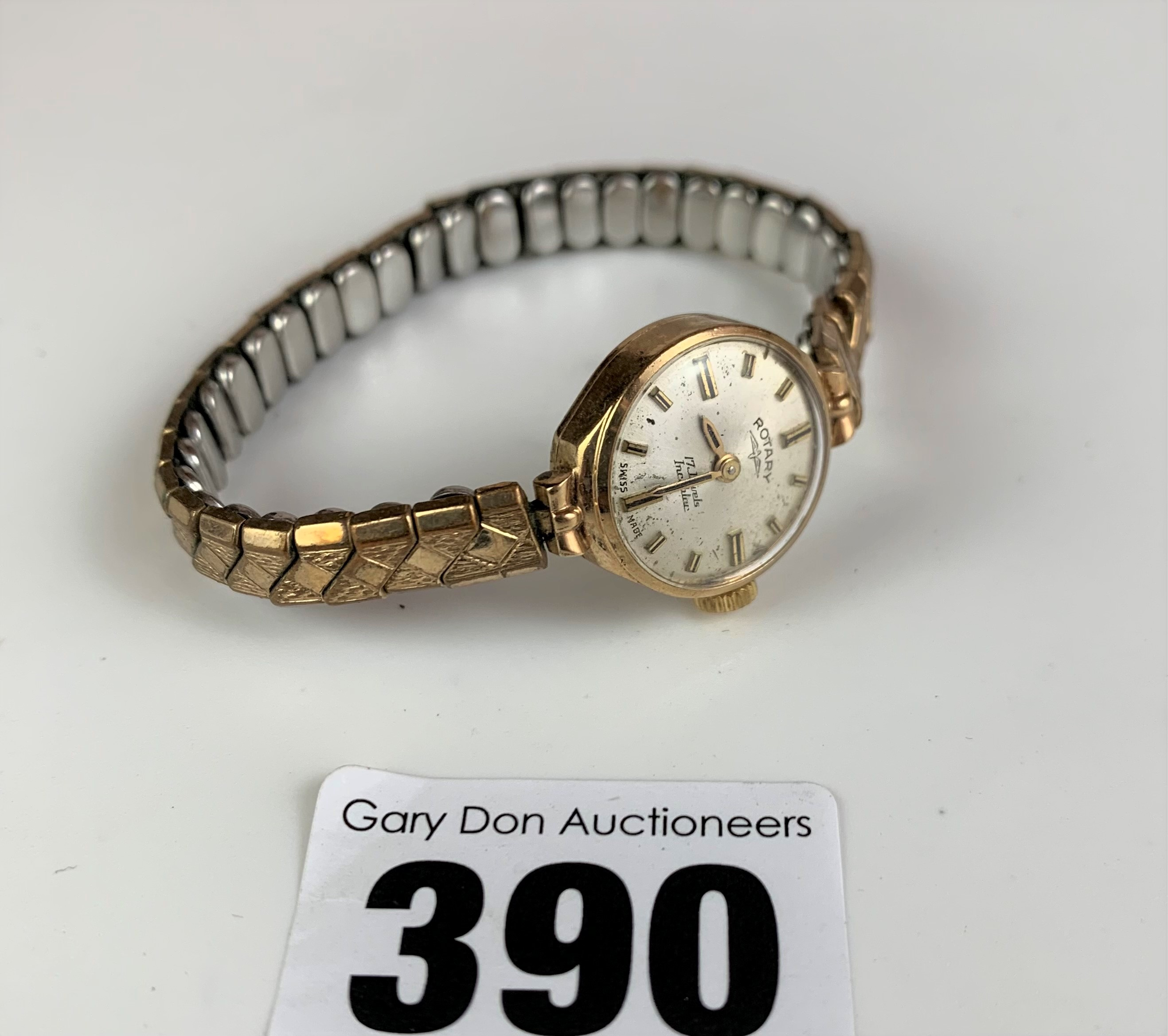 9k gold ladies Rotary watch with elasticated plated strap, total w: 15.3 gms, not working (pv £35)