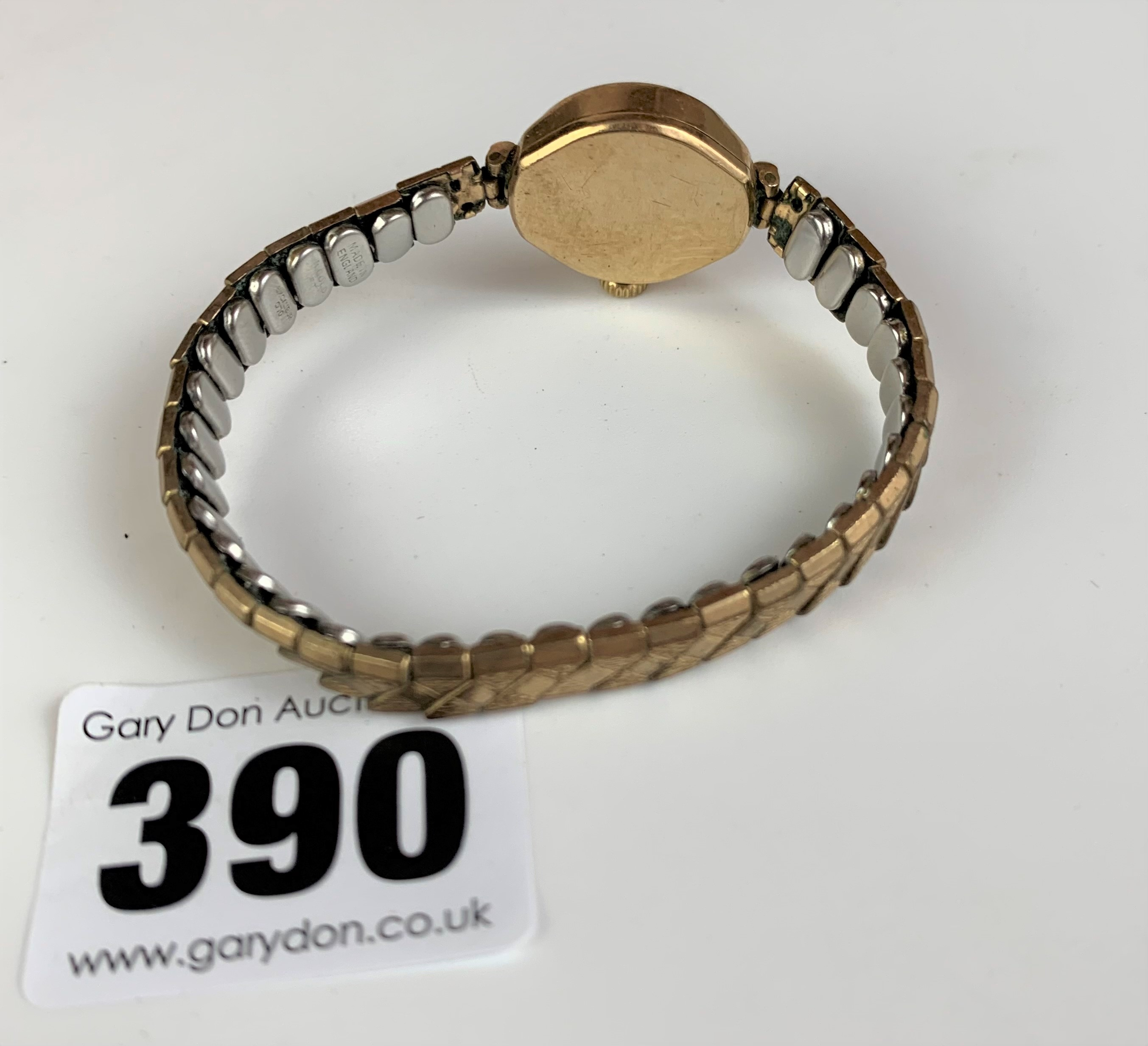 9k gold ladies Rotary watch with elasticated plated strap, total w: 15.3 gms, not working (pv £35) - Image 3 of 3