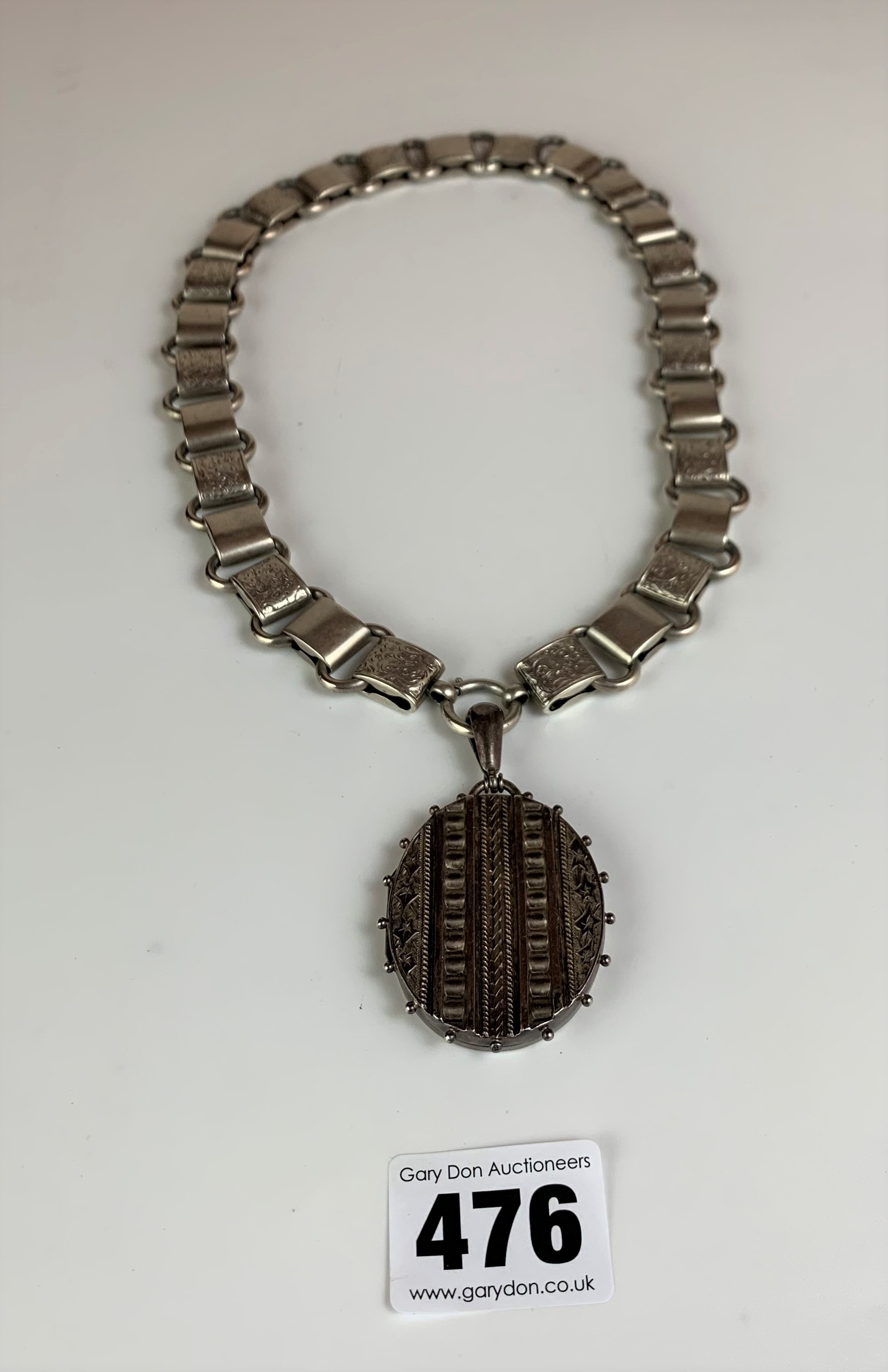"""Silver chain with silver locket, chain 18"""", locket 2"""". Total w: 2.3 ozt - Image 2 of 5"""