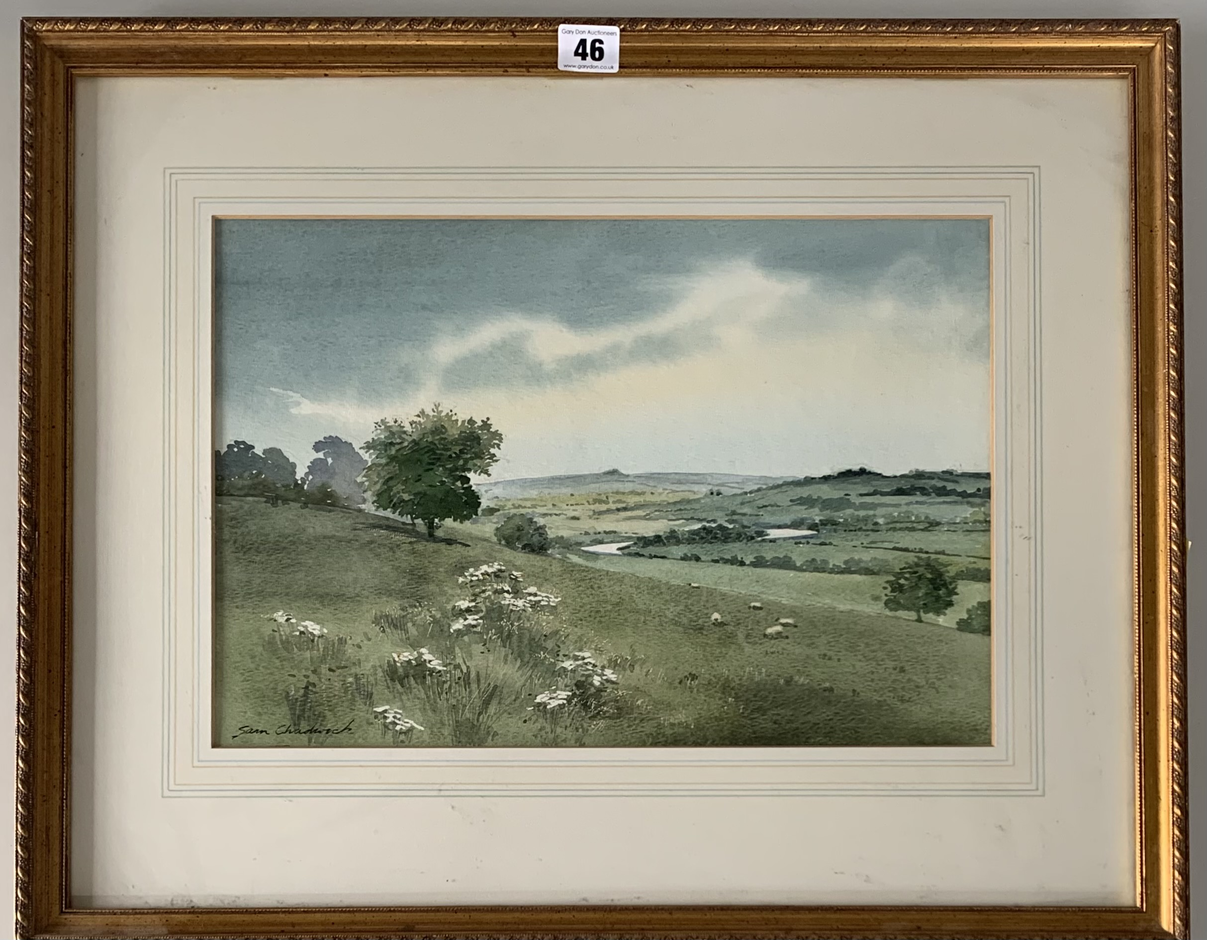 """Watercolour of landscape by Sam Chadwick. Image 16"""" x 11"""", frame 23"""" x 19"""". Headrow Gallery,"""