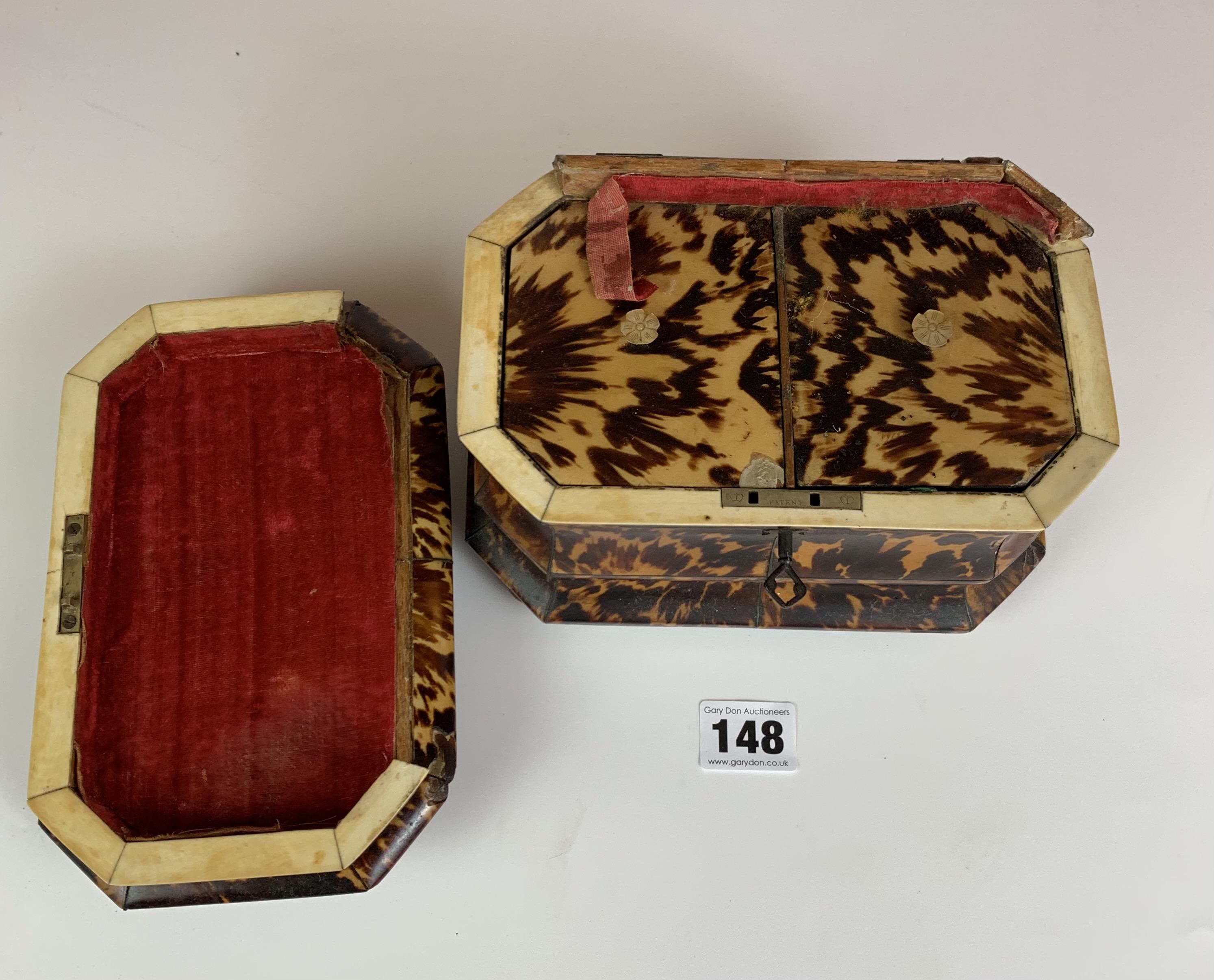 "Regency Tortoiseshell veneered tea caddy with twin compartment, c. 1820. Lid damaged. 7.5"" long x 5"" - Image 4 of 5"
