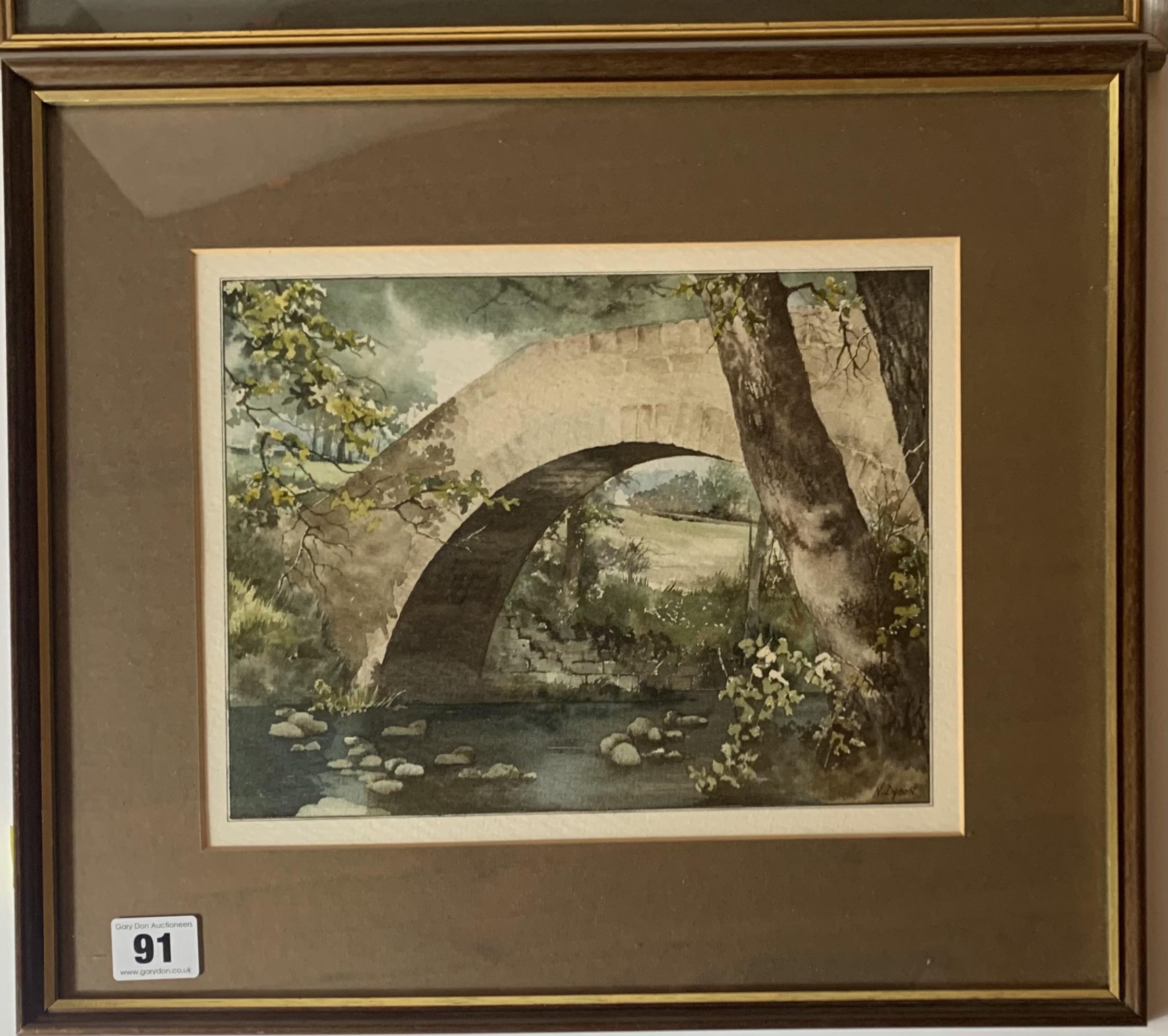 "2 Watercolours - landscape by Ebenezer John Woods Prior. Image 10.5"" x 8"", frame 17"" x 14"". - Image 2 of 7"