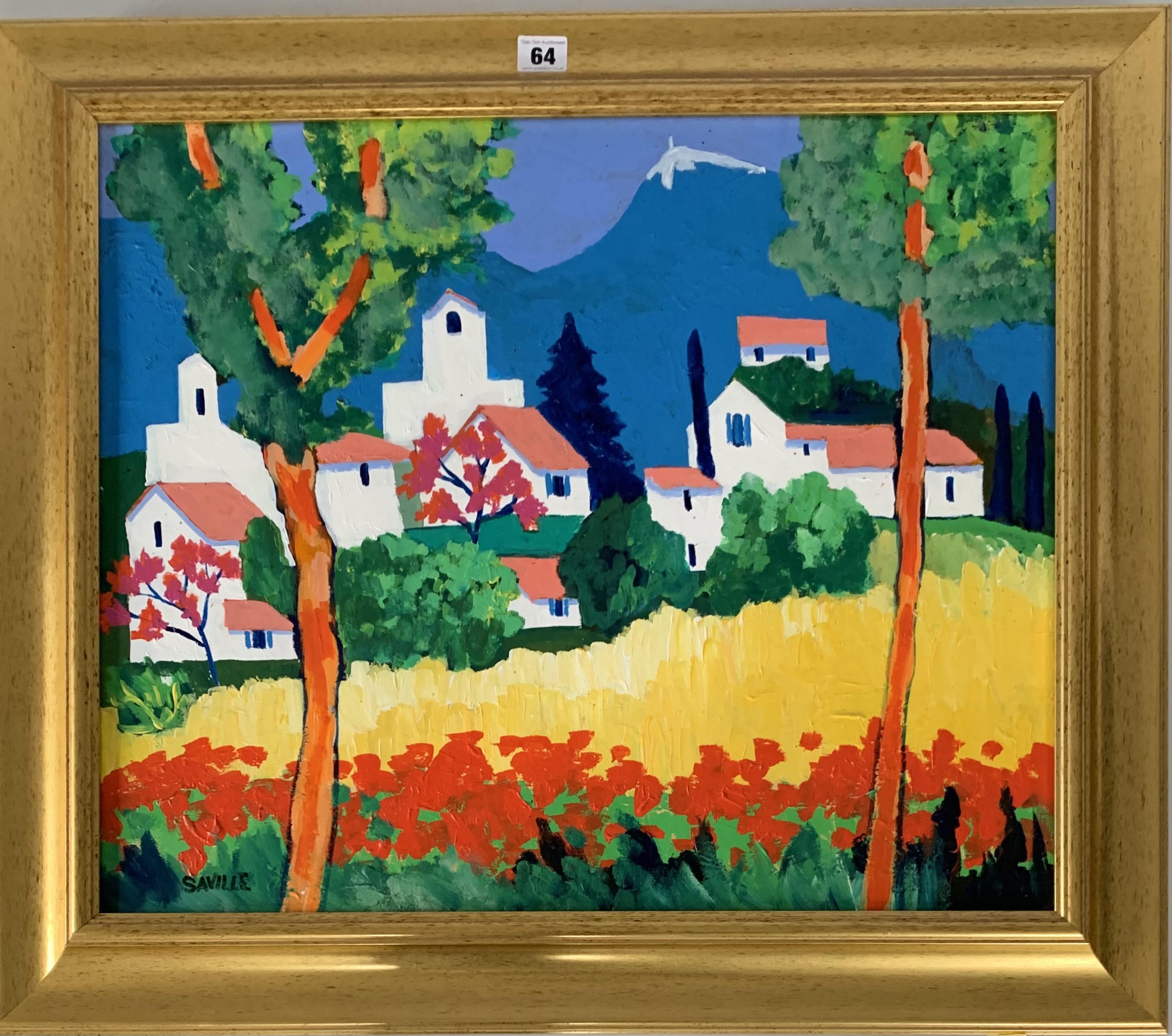 """Acrylic on board """"Flassan-Provence"""" by M. Saville '98, image 23.5"""" x 19.5"""", frame 29.5"""" x 25.5""""."""