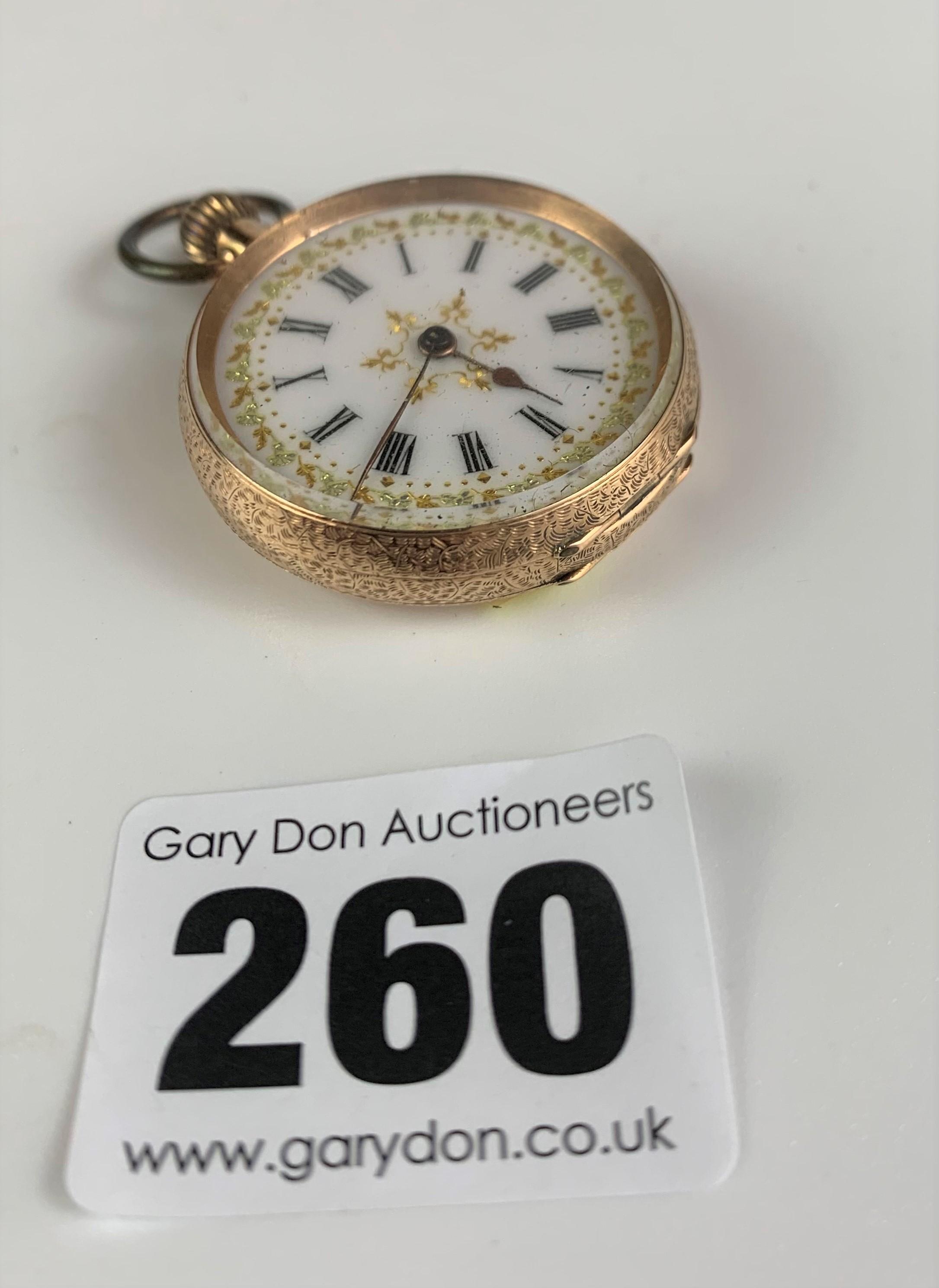 "14k gold embossed ladies fob watch, diameter 1.5"", total w: 29.4 gms. Working - Image 2 of 6"