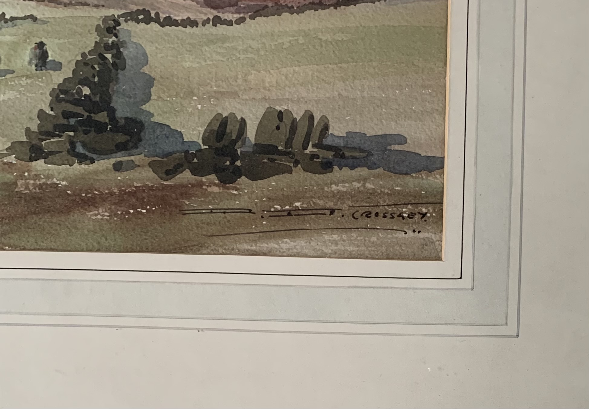 """Watercolour """"In the Bronte Country"""" by D.B. Crossley. Image 22"""" x 15.5"""", frame 32"""" x 25"""" - Image 2 of 3"""