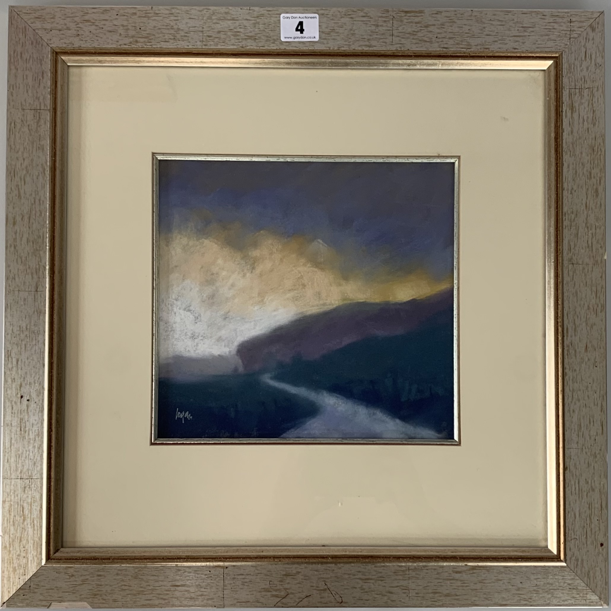 """Pastel """"Passing Storm Over Kilnsey"""" by Terry Logan. Image 9.5"""" x 9"""", frame 19"""" x 19"""". Small chips to"""