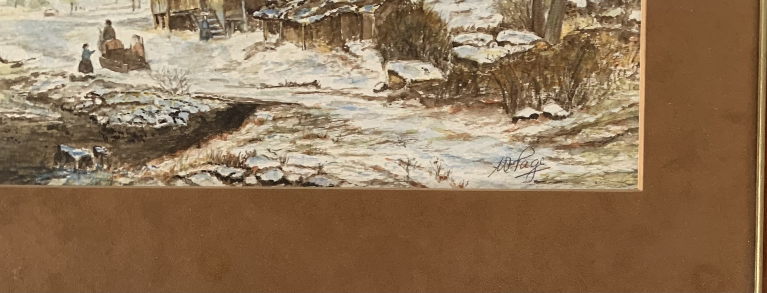 """Watercolour of winter house and landscape by W. Page. Image 15"""" x 11"""", frame 19.5"""" x 16"""". Headrow - Image 2 of 3"""