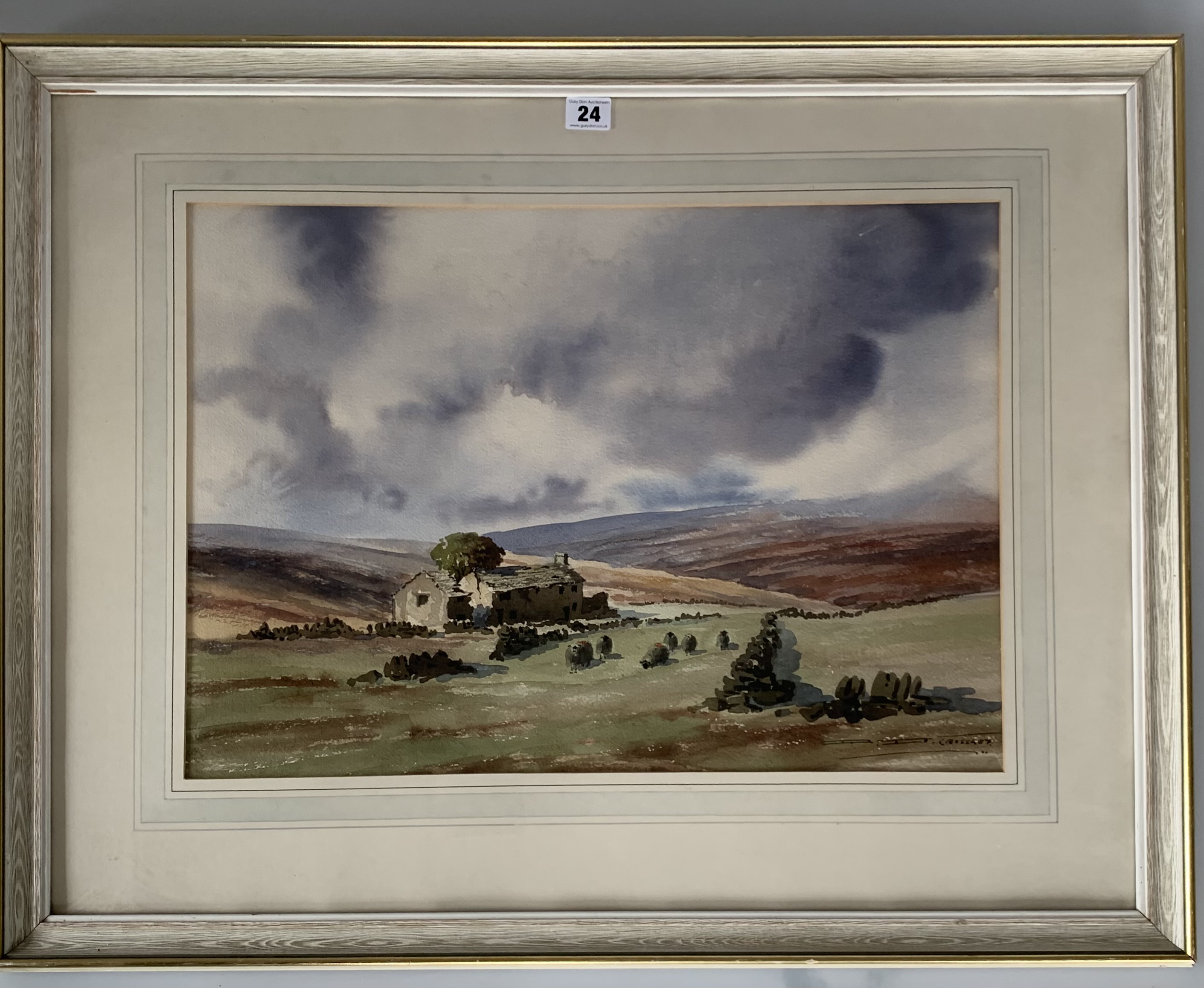"""Watercolour """"In the Bronte Country"""" by D.B. Crossley. Image 22"""" x 15.5"""", frame 32"""" x 25"""""""