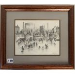 Brian Shields (Braaq) pencil sketch of town scene with figures in foreground. Signed 'braaq' ' Ann'.