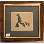"""Brian Shields (Braaq) pencil drawing of man and dog, signed 'braaq'. Image 6.25"""" x 5.25"""", frame 13."""