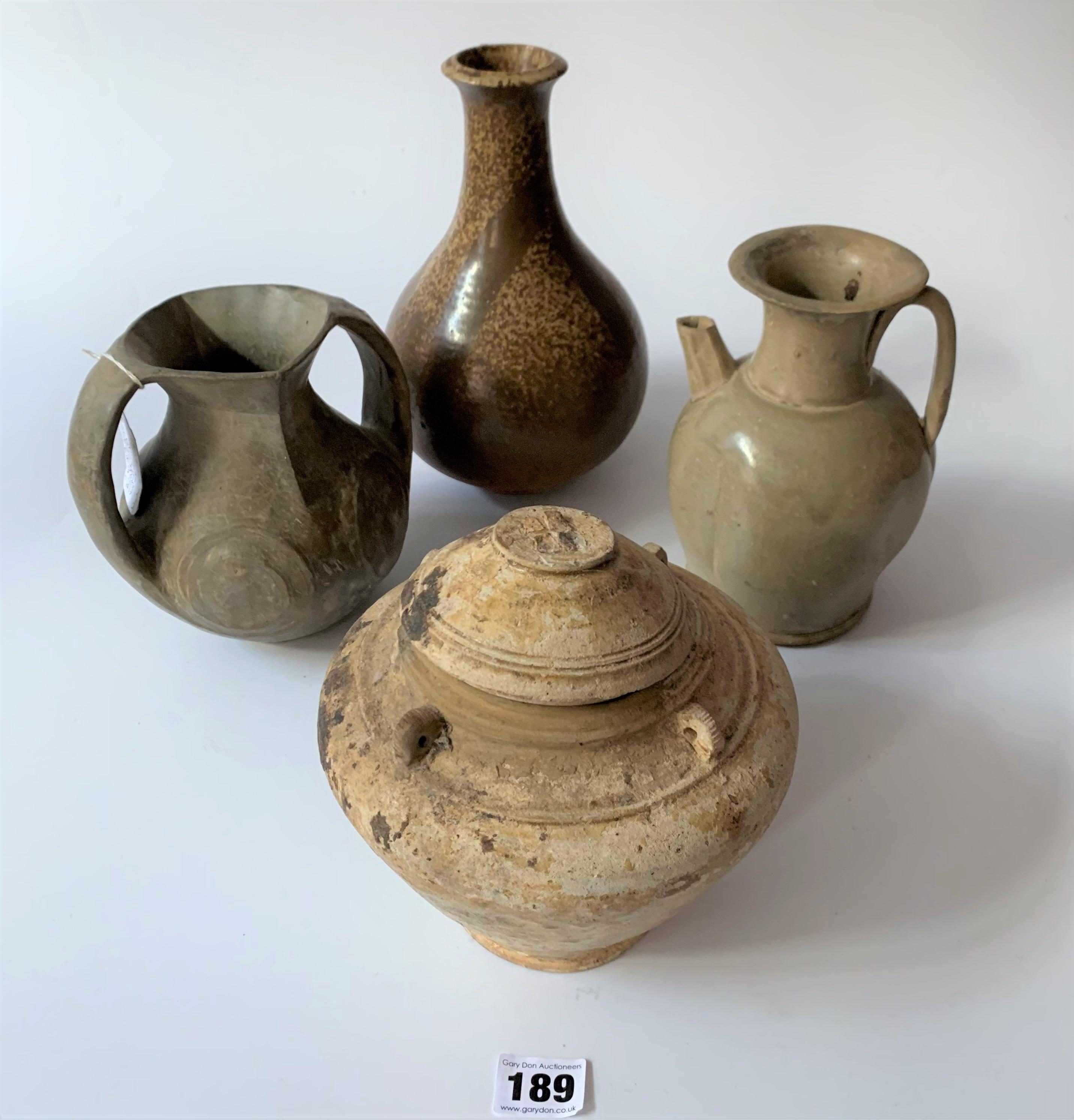 4 stoneware vases