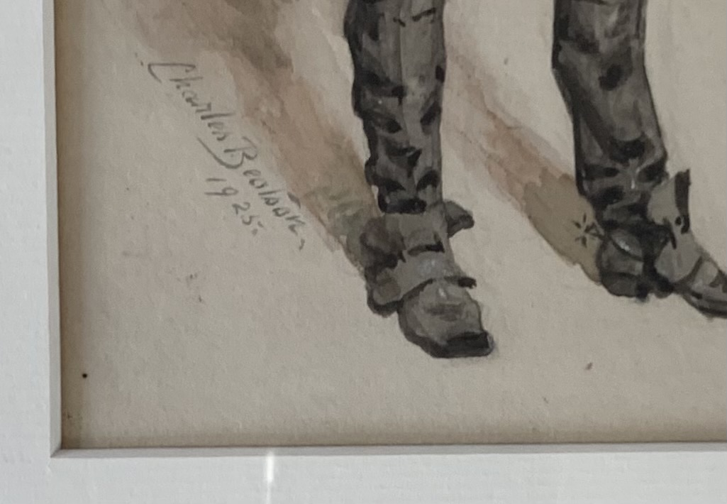 """Watercolour of officer by Charles Bealson 1925, image 5"""" x 9"""", frame 12"""" x 16"""" - Image 2 of 3"""