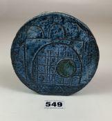 "Troika wheel shaped vase, 4.5"" diameter. Signed EW. No damage"