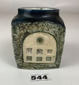 """Troika cube shaped pot, 3.75"""" high x 3"""" cube, signed AN. No damage"""