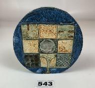 "Troika wheel shaped vase, 4.5"" diameter. Signed AB. Tiny chip on edge"