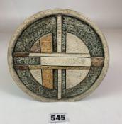 "Troika wheel shaped vase, 6.5"" diameter. Signed LJ. No damage"