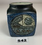 "Troika cube shaped pot, 3.75"" high x 3"" cube, signed AB. No damage"