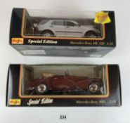 2 boxed Maisto Special Edition 1:18 die cast cars – Mercedes Benz 300S and Mercedes Benz ML320