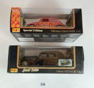 2 boxed Maisto Special Edition 1:18 cars – Citroen 15CV 6 Cyl and Volkswagen Export Sedan