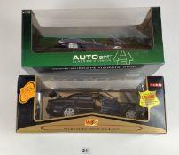 2 boxed 1:18 die cast cars – Maisto Mercedes Benz S-Class and Auto Art Classics Division Jaguar XK-