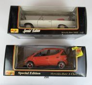 2 boxed Maisto Special Edition 1:18 die cast cars – Mercedes Benz A-Class and Mercedes Benz 280SE
