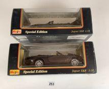 2 boxed Maisto Special Edition 1:18 die cast cars – Jaguar XK8 and Jaguar XKR