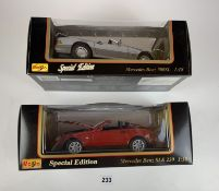 2 boxed Maisto Special Edition 1:18 die cast cars – Mercedes Benz SLK 230 and Mercedes Benz 500SL