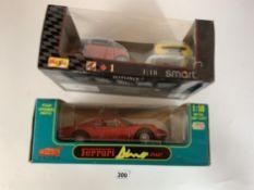 Boxed Anson 1:18 die cast car – Ferrari Dino 246GT and Maisto 1:18 1+1 Smart cars