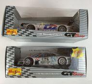 2 boxed Maisto 1:18 die cast racing cars – Mercedes CLK LM and Mercedes CLK-GTR