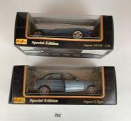 2 boxed Maisto Special Edition 1:18 die cast cars – Jaguar S-Type and Jaguar XK 180