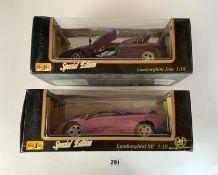 2 boxed Maisto Special Edition 1:18 die cast cars – Lamborghini Jota and Lamborghini SE