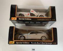 2 boxed Maisto Special Edition 1:18 die cast cars – Lamborghini Diablo SV and Mercedes Benz C-Klasse