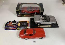 Boxed Anson 1:18 die cast car – Ferrari 328GTS, unboxed Maisto '98 Corvette Convertible, unboxed